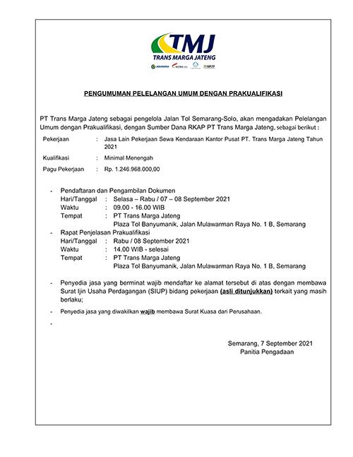 Jasa Lain Pekerjaan Sewa Kendaraan Kantor Pusat PT. Trans Marga Jateng Tahun 2021